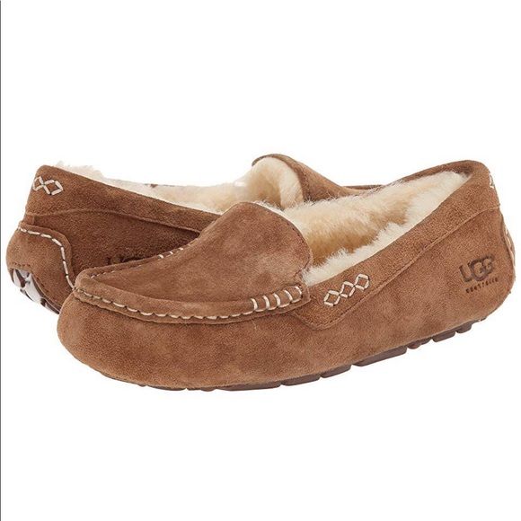 16439592728 LIKE NEW Ugg Ansley Slippers Moccasins Suede Fur